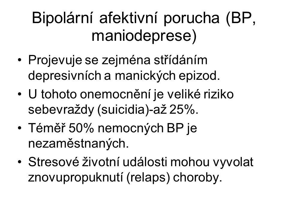 Bipolární afektivní porucha (BP, maniodeprese) Projevuje se zejména střídáním depresivních a manických epizod. U tohoto onemocnění je veliké riziko s