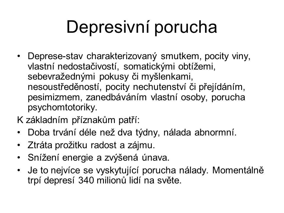 Depresivní porucha Deprese-stav charakterizovaný smutkem, pocity viny, vlastní nedostačivostí, somatickými obtížemi, sebevražednými pokusy či myšlenkami, nesoustředěností, pocity nechutenství či přejídáním, pesimizmem, zanedbáváním vlastní osoby, porucha psychomtotoriky.