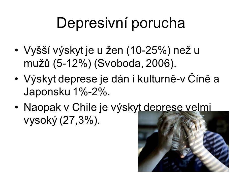 Depresivní porucha Vyšší výskyt je u žen (10-25%) než u mužů (5-12%) (Svoboda, 2006). Výskyt deprese je dán i kulturně-v Číně a Japonsku 1%-2%. Naopak