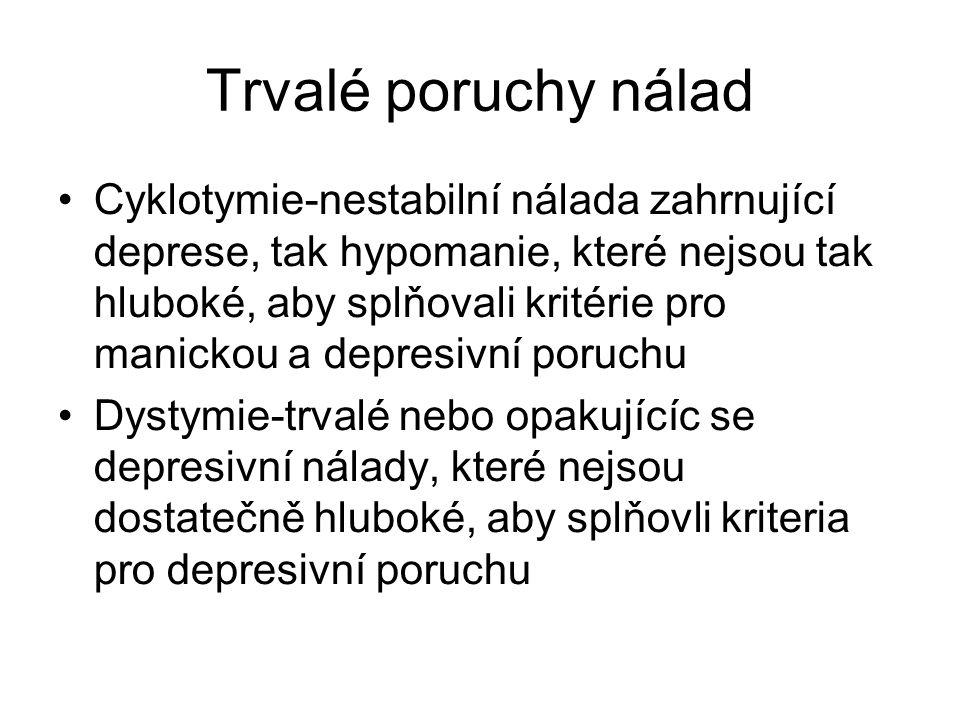 Trvalé poruchy nálad Cyklotymie-nestabilní nálada zahrnující deprese, tak hypomanie, které nejsou tak hluboké, aby splňovali kritérie pro manickou a d