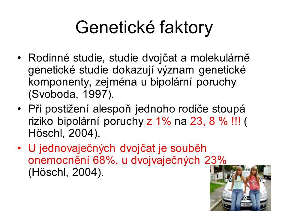 Genetické faktory Rodinné studie, studie dvojčat a molekulárně genetické studie dokazují význam genetické komponenty, zejména u bipolární poruchy (Svo