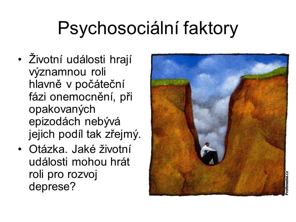 Psychosociální faktory Životní události hrají významnou roli hlavně v počáteční fázi onemocnění, při opakovaných epizodách nebývá jejich podíl tak zře