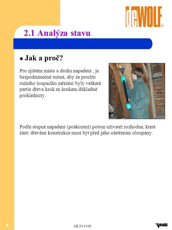 OB 21/11/05 4 2.1 Analýza stavu Jak a proč? Pro zjištění místa a druhu napadení, je bezpodmínečně nutné, aby za použití ručního loupacího zařízení byl