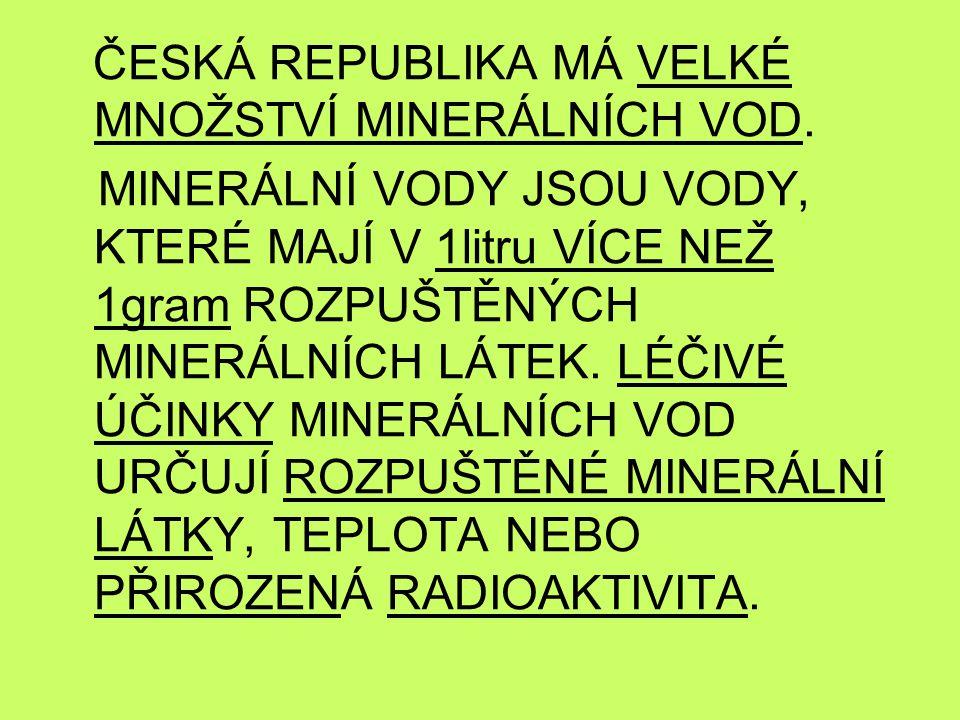 TEPLICE JSOU MINERÁLNÍ VODY S TEPLOTOU PŘES 20° C.