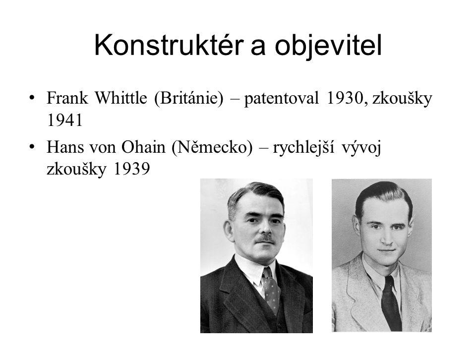 Konstruktér a objevitel Frank Whittle (Británie) – patentoval 1930, zkoušky 1941 Hans von Ohain (Německo) – rychlejší vývoj zkoušky 1939