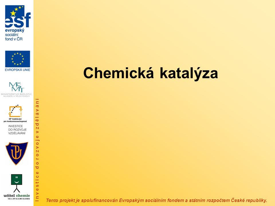 Historie chemické katalýzy – první katalyzovanou anorganickou reakci popsal v roce 1552 Valerius Cordus, který pomocí kyseliny sírové provedl konverzi alkoholu na ether Elizabeth Fulhame (1780 – 1849) – poprvé se slovo katalýza objevilo v knize Alchymie Andrea Libavia z roku 1597 ve spojení s přeměnou obyčejných kovů na stříbro a zlato – studium procesů spojených s hořením – oxidace oxidu uhelnatého probíhá v přítomnosti malého množství vody, které se v průběhu reakce nemění Gottlieb S.