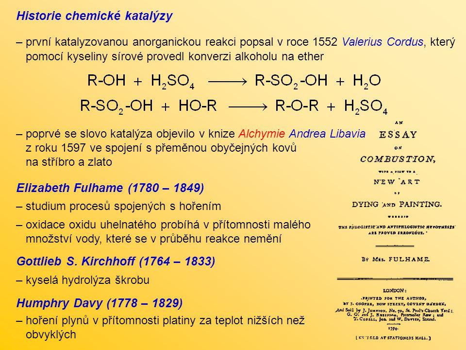 Historie chemické katalýzy – první katalyzovanou anorganickou reakci popsal v roce 1552 Valerius Cordus, který pomocí kyseliny sírové provedl konverzi