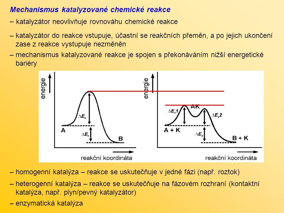 Mechanismus katalyzované chemické reakce – katalyzátor neovlivňuje rovnováhu chemické reakce – katalyzátor do reakce vstupuje, účastní se reakčních př