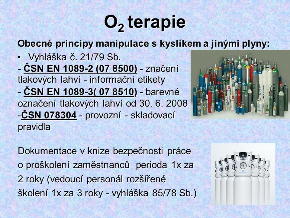 O 2 terapie Obecné principy manipulace s kyslíkem a jinými plyny: Vyhláška č. 21/79 Sb.Vyhláška č. 21/79 Sb. - ČSN EN 1089-2 (07 8500) - značení tlako