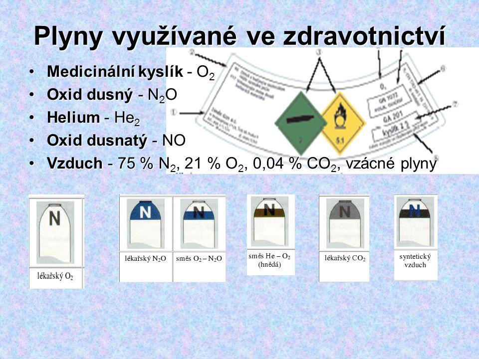 Plyny využívané ve zdravotnictví Medicinální kyslík - O 2Medicinální kyslík - O 2 Oxid dusný - N 2 OOxid dusný - N 2 O Helium - He 2Helium - He 2 Oxid