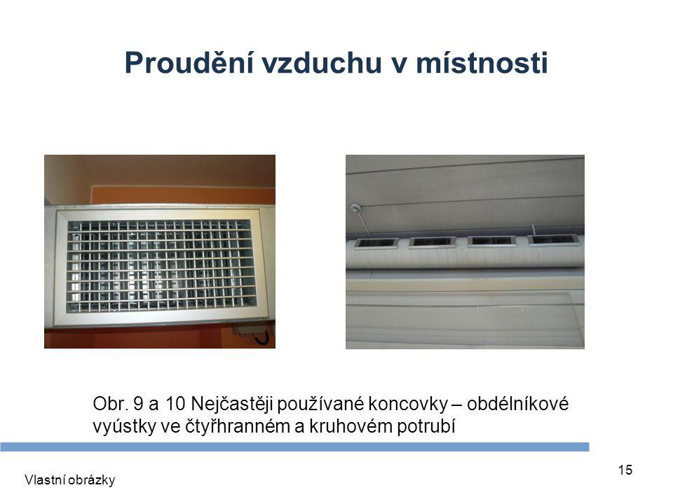 15 Proudění vzduchu v místnosti Obr. 9 a 10 Nejčastěji používané koncovky – obdélníkové vyústky ve čtyřhranném a kruhovém potrubí Vlastní obrázky