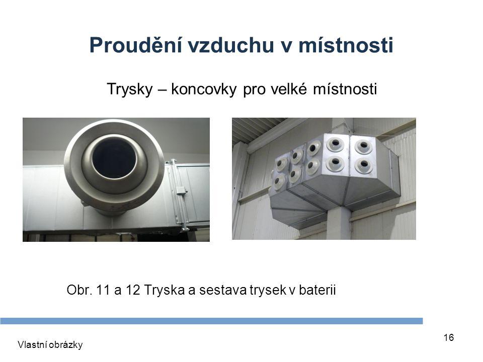 16 Proudění vzduchu v místnosti Obr. 11 a 12 Tryska a sestava trysek v baterii Vlastní obrázky Trysky – koncovky pro velké místnosti