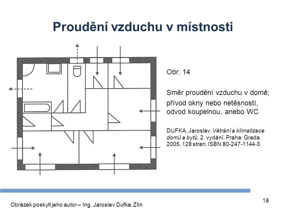 18 Proudění vzduchu v místnosti Obr. 14 Směr proudění vzduchu v domě; přívod okny nebo netěsností, odvod koupelnou, anebo WC DUFKA, Jaroslav. Větrání