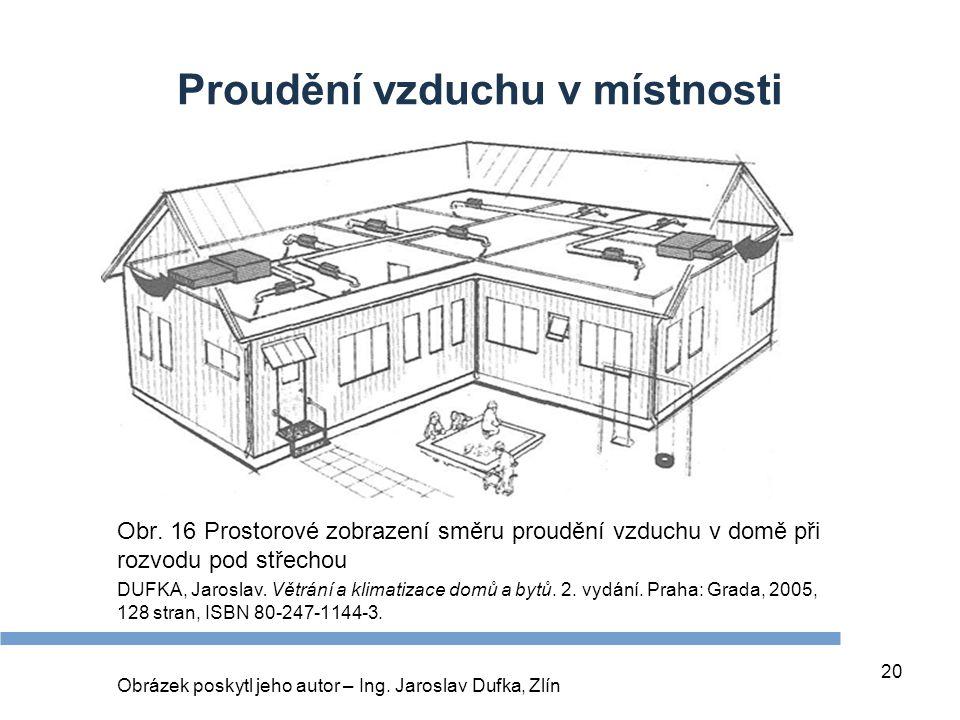 20 Proudění vzduchu v místnosti Obr. 16 Prostorové zobrazení směru proudění vzduchu v domě při rozvodu pod střechou DUFKA, Jaroslav. Větrání a klimati