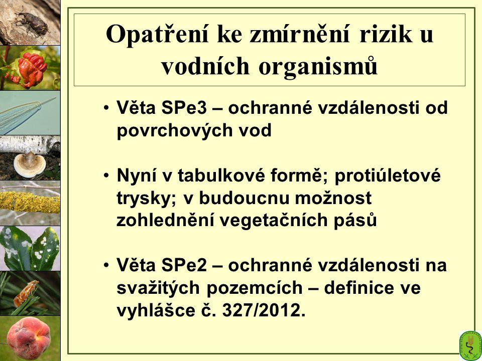Opatření ke zmírnění rizik u vodních organismů Věta SPe3 – ochranné vzdálenosti od povrchových vod Nyní v tabulkové formě; protiúletové trysky; v budo