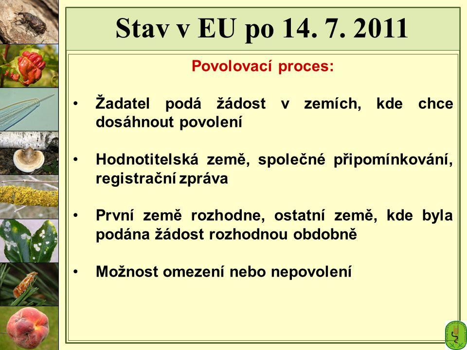 Stav v EU po 14. 7. 2011 Povolovací proces: Žadatel podá žádost v zemích, kde chce dosáhnout povolení Hodnotitelská země, společné připomínkování, reg