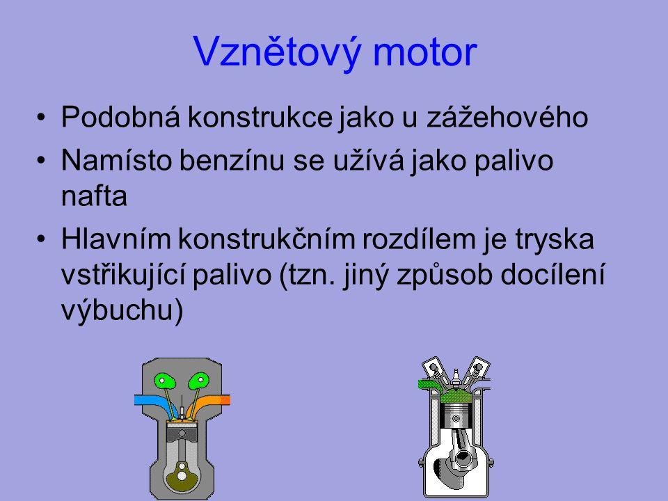 Vznětový motor Podobná konstrukce jako u zážehového Namísto benzínu se užívá jako palivo nafta Hlavním konstrukčním rozdílem je tryska vstřikující palivo (tzn.