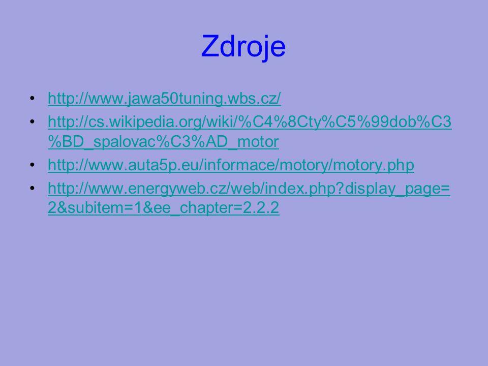 Zdroje http://www.jawa50tuning.wbs.cz/ http://cs.wikipedia.org/wiki/%C4%8Cty%C5%99dob%C3 %BD_spalovac%C3%AD_motorhttp://cs.wikipedia.org/wiki/%C4%8Cty