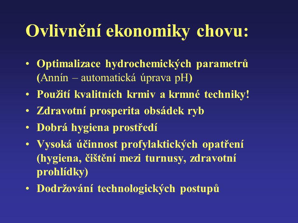 Ovlivnění ekonomiky chovu: Optimalizace hydrochemických parametrů (Annín – automatická úprava pH) Použití kvalitních krmiv a krmné techniky! Zdravotní
