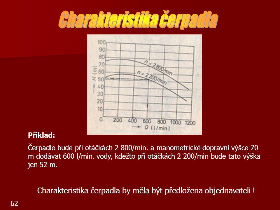 62 Příklad: Čerpadlo bude při otáčkách 2 800/min. a manometrické dopravní výšce 70 m dodávat 600 l/min. vody, kdežto při otáčkách 2 200/min bude tato