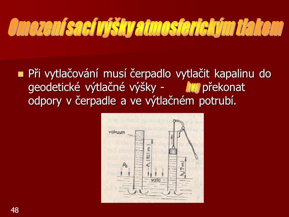 Při vytlačování musí čerpadlo vytlačit kapalinu do geodetické výtlačné výšky - a překonat odpory v čerpadle a ve výtlačném potrubí. Při vytlačování mu