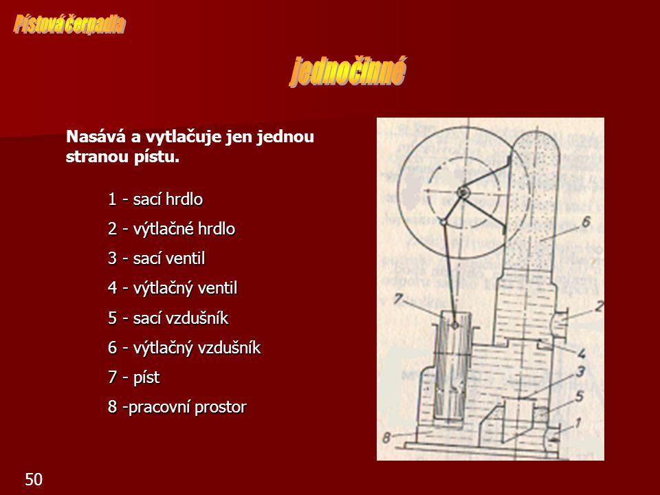 51 1 - sací hrdlo 1 - sací hrdlo 2 - výtlačné hrdlo 2 - výtlačné hrdlo 3 - sací ventil 3 - sací ventil 4 - výtlačný ventil 5 - sací vzdušník 6 - výtlačný vzdušník 7 – píst 8 – pracovní prostor Nasává a vytlačuje oběma stranami.