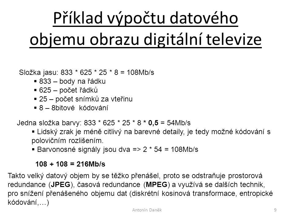 Příklad výpočtu datového objemu obrazu digitální televize Antonín Daněk9 Složka jasu: 833 * 625 * 25 * 8 = 108Mb/s  833 – body na řádku  625 – počet