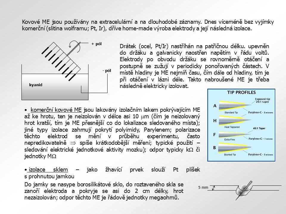 Kovové ME jsou používány na extracelulární a na dlouhodobé záznamy. Dnes víceméně bez vyjímky komerční (slitina wolframu; Pt, Ir), dříve home-made výr