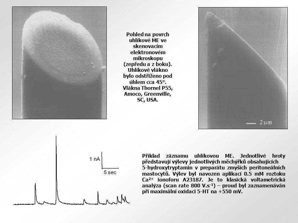Pohled na povrch uhlíkové ME ve skenovacím elektronovém mikroskopu (zepředu a z boku). Uhlíkové vlákno bylo odstřiženo pod úhlem cca 45°. Vlákna Thorn