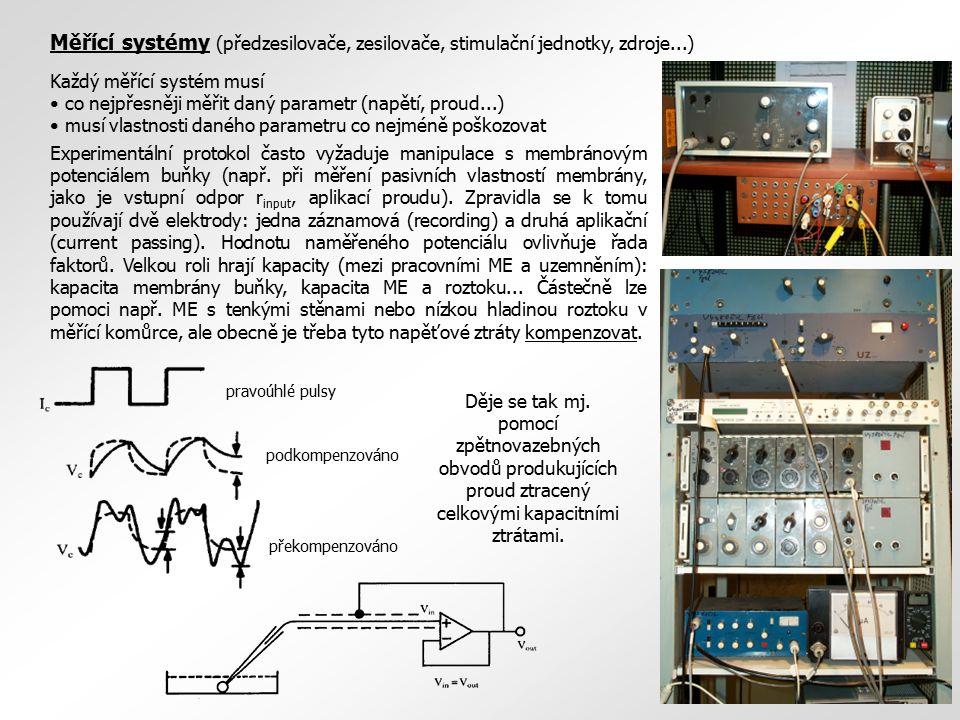 Měřící systémy (předzesilovače, zesilovače, stimulační jednotky, zdroje...) Každý měřící systém musí co nejpřesněji měřit daný parametr (napětí, proud