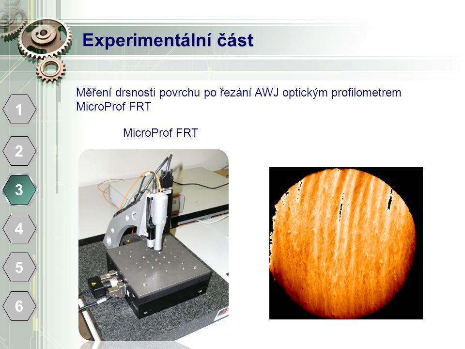 Experimentální část 1 2 3 4 5 6 MicroProf FRT Měření drsnosti povrchu po řezání AWJ optickým profilometrem MicroProf FRT
