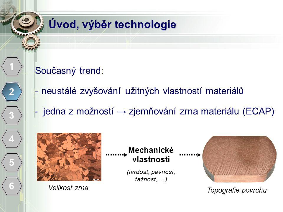 Úvod, výběr technologie 1 2 3 4 5 6 Současný trend : - neustálé zvyšování užitných vlastností materiálů - jedna z možností → zjemňování zrna materiálu