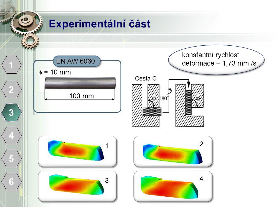 Experimentální část 1 2 3 4 5 6 EN AW 6060 100 mm  = 10 mm konstantní rychlost deformace – 1,73 mm /s 1 2 3 4
