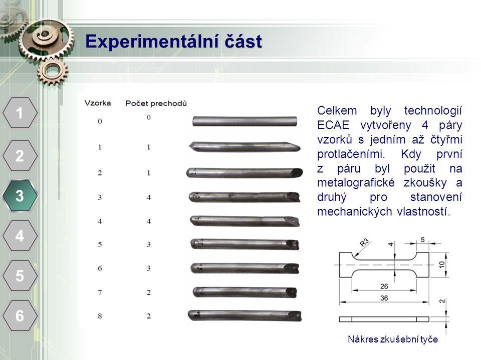 Experimentální část 1 2 3 4 5 6 Celkem byly technologií ECAE vytvořeny 4 páry vzorků s jedním až čtyřmi protlačeními. Kdy první z páru byl použit na m