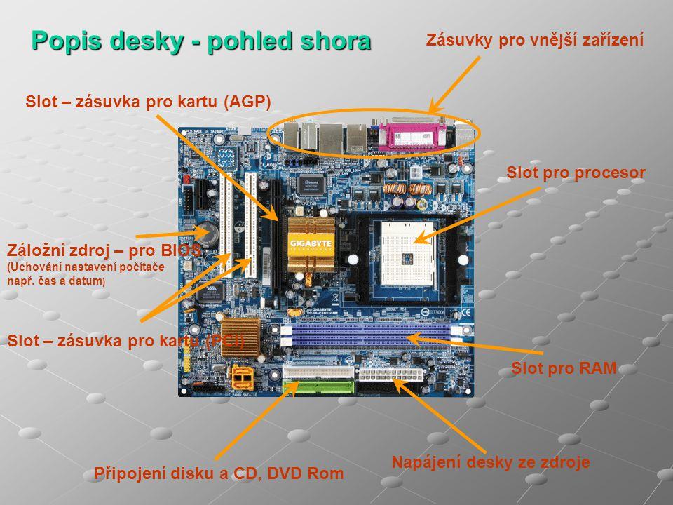 Popis desky - pohled shora Slot – zásuvka pro kartu (AGP) Záložní zdroj – pro BIOS (Uchování nastavení počítače např. čas a datum ) Slot – zásuvka pro