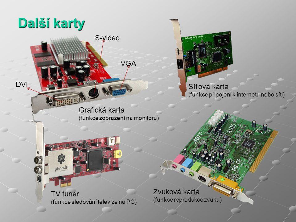 Další karty Grafická karta (funkce zobrazení na monitoru) TV tuner (funkce sledování televize na PC) Síťová karta (funkce připojení k internetu nebo s
