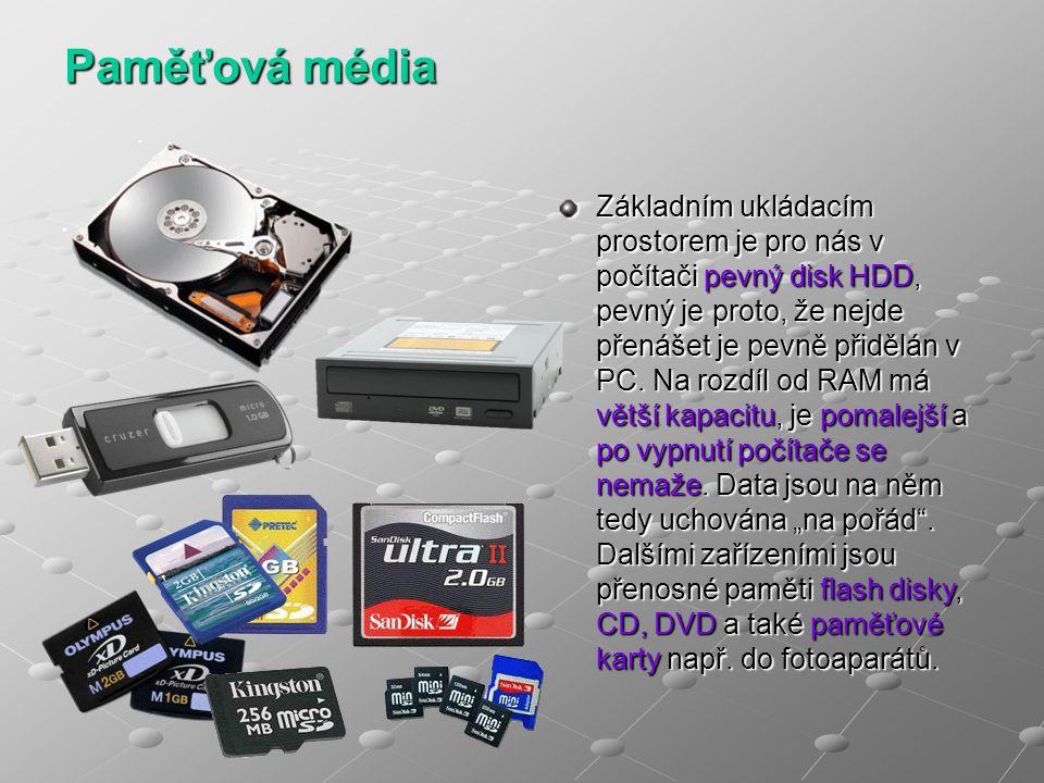 Paměťová média Základním ukládacím prostorem je pro nás v počítači pevný disk HDD, pevný je proto, že nejde přenášet je pevně přidělán v PC. Na rozdíl