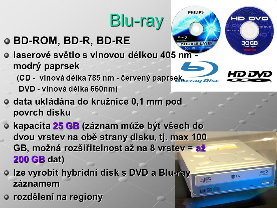 BD-ROM, BD-R, BD-RE laserové světlo s vlnovou délkou 405 nm - modrý paprsek (CD - vlnová délka 785 nm - červený paprsek, DVD - vlnová délka 660nm) DVD