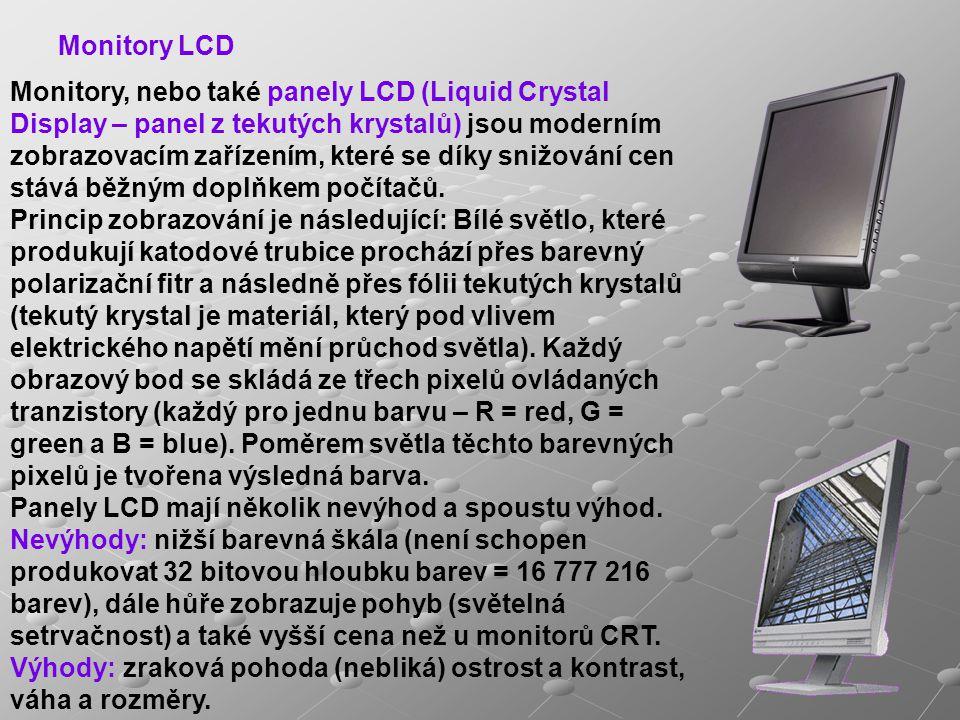 Monitory, nebo také panely LCD (Liquid Crystal Display – panel z tekutých krystalů) jsou moderním zobrazovacím zařízením, které se díky snižování cen stává běžným doplňkem počítačů.