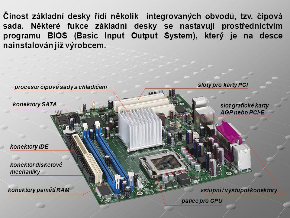 patice pro CPU sloty pro karty PCI procesor čipové sady s chladičem konektory pamětí RAM slot grafické karty AGP nebo PCI-E konektory IDE konektory SA