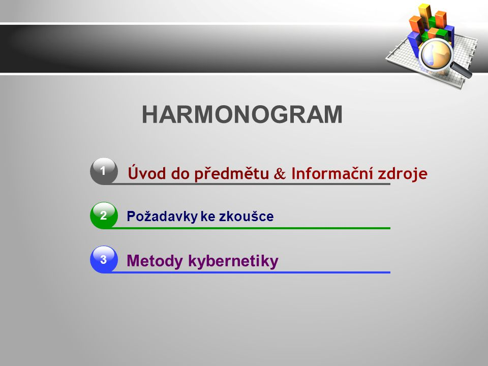 1 Požadavky ke zkoušce Metody kybernetiky HARMONOGRAM 2 3 Úvod do předmětu  Informační zdroje