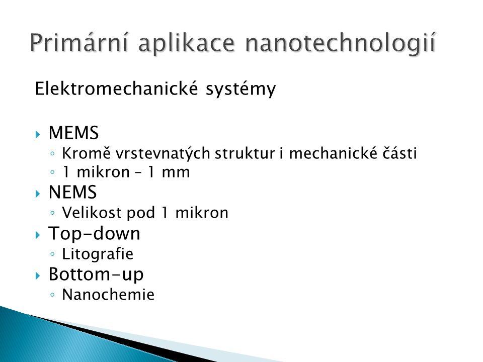 Elektromechanické systémy  MEMS ◦ Kromě vrstevnatých struktur i mechanické části ◦ 1 mikron – 1 mm  NEMS ◦ Velikost pod 1 mikron  Top-down ◦ Litografie  Bottom-up ◦ Nanochemie