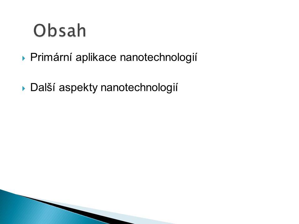  Primární aplikace nanotechnologií  Další aspekty nanotechnologií