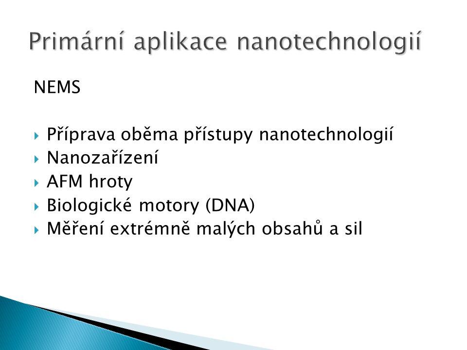 NEMS  Příprava oběma přístupy nanotechnologií  Nanozařízení  AFM hroty  Biologické motory (DNA)  Měření extrémně malých obsahů a sil