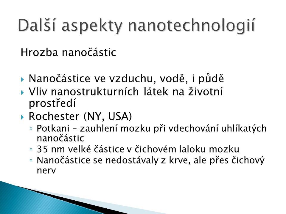 Hrozba nanočástic  Nanočástice ve vzduchu, vodě, i půdě  Vliv nanostrukturních látek na životní prostředí  Rochester (NY, USA) ◦ Potkani – zauhlení mozku při vdechování uhlíkatých nanočástic ◦ 35 nm velké částice v čichovém laloku mozku ◦ Nanočástice se nedostávaly z krve, ale přes čichový nerv