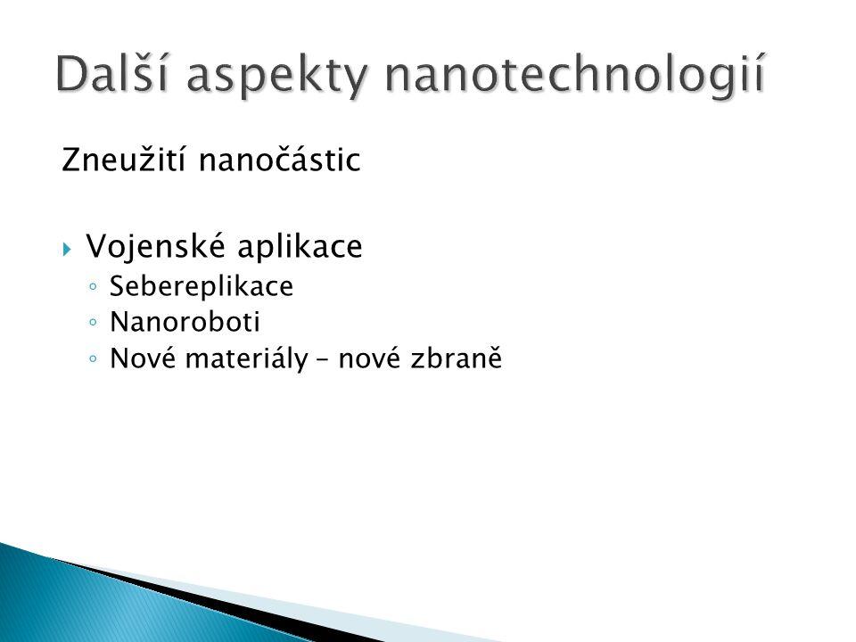 Zneužití nanočástic  Vojenské aplikace ◦ Sebereplikace ◦ Nanoroboti ◦ Nové materiály – nové zbraně