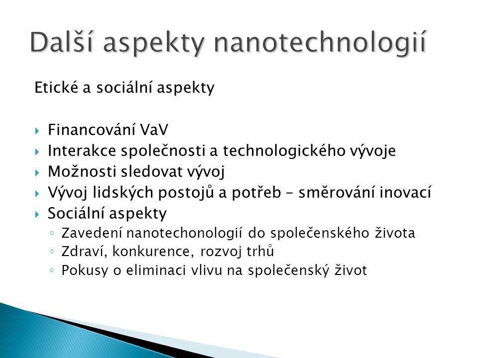Etické a sociální aspekty  Financování VaV  Interakce společnosti a technologického vývoje  Možnosti sledovat vývoj  Vývoj lidských postojů a potř