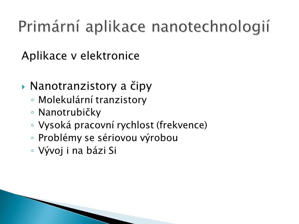 Aplikace v elektronice  Nanotranzistory a čipy ◦ Molekulární tranzistory ◦ Nanotrubičky ◦ Vysoká pracovní rychlost (frekvence) ◦ Problémy se sériovou výrobou ◦ Vývoj i na bázi Si