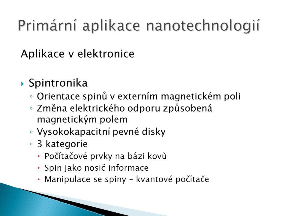 Aplikace v elektronice  Spintronika ◦ Orientace spinů v externím magnetickém poli ◦ Změna elektrického odporu způsobená magnetickým polem ◦ Vysokokapacitní pevné disky ◦ 3 kategorie  Počítačové prvky na bázi kovů  Spin jako nosič informace  Manipulace se spiny – kvantové počítače