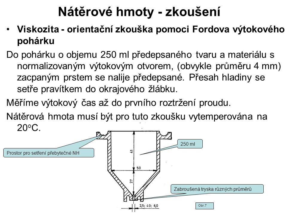 Nátěrové hmoty - zkoušení Viskozita - orientační zkouška pomoci Fordova výtokového pohárku Do pohárku o objemu 250 ml předepsaného tvaru a materiálu s